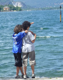 Matthew and Alex on the shores of Lago Maggiore